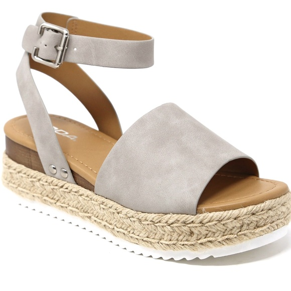 34fbbf811 Topic Gray Open Toe Platform Espadrille Sandals